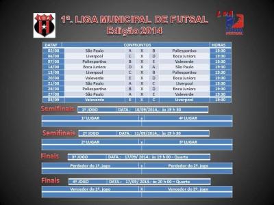 A 1ª Liga Municipal de Futsal Edição 2014 de Valença terá inicio neste sábado (02)