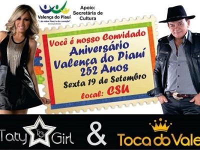 Prefeitura de Valença confirma Toca do Vale e Taty Girl no aniversário de 252 do município