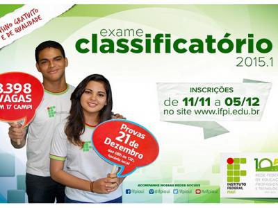 IFPI divulga resultado do Exame Classificatório 2015/1. VEJA O RESULTADO