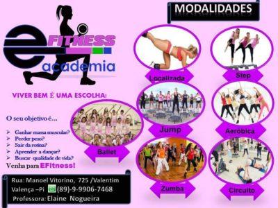 ACADEMIA EFITNESS conta com diferentes modalidades de dança aeróbicas